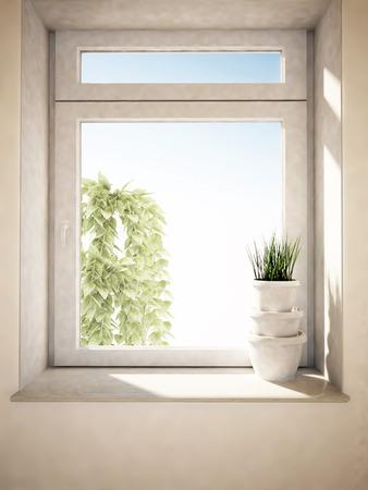 three vases on the windowsill photo