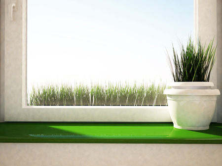 a vase with the grass on the green windowsill photo