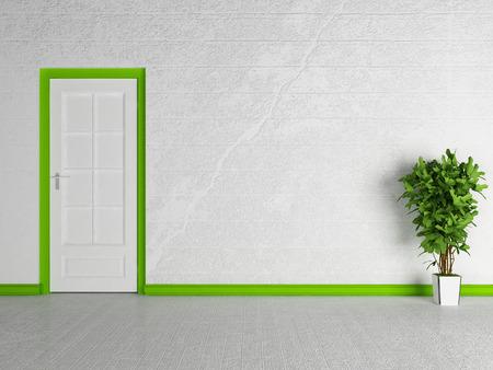 green door: green plant near the white door, 3d rendering