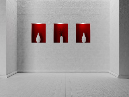 vase plaster: three vases in the niches, 3d rendering