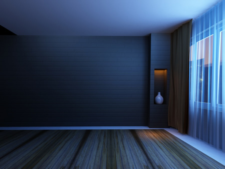 single rooms: empty room  with a window Stock Photo