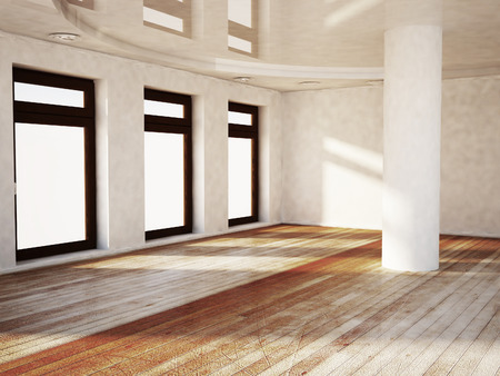 celling: empty room with the windows and a column