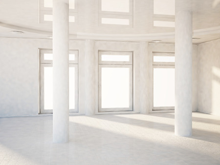 trim wall: empty white room with the windows and the columns