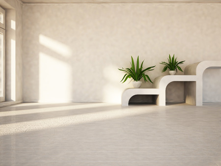 green plants on the tables  in the empty room