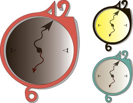three clocks on white