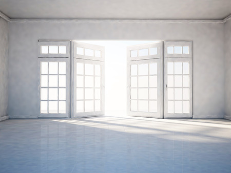 celling: empty room with open window, 3d rendering