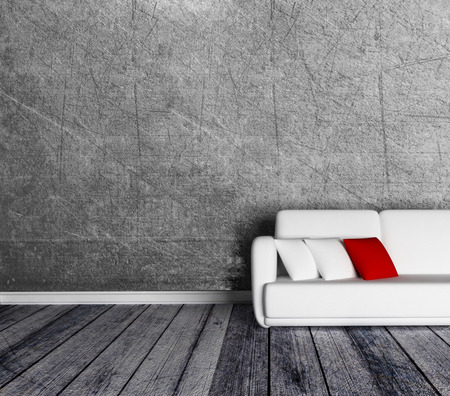red couch: sofa in the empty room, 3d rendering Stock Photo