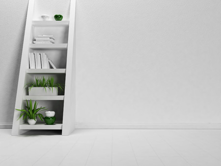 single shelf: interesting shelf-ladder in the empty room, 3d rendering
