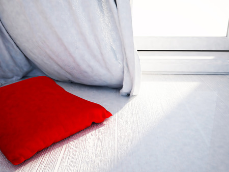 blind: red pillow near the window, 3d rendering Stock Photo