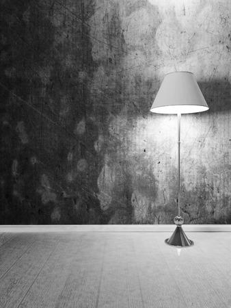 floor lamp: floor lamp in the dark room, 3d eendering