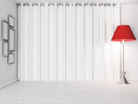 floor lamp: red floor lamp near the cirtains, 3d rendering
