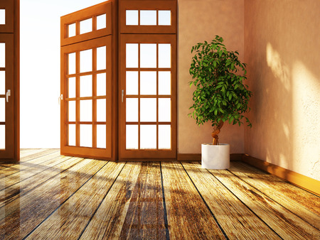 front room: green plant is standing near the window, 3d rendering