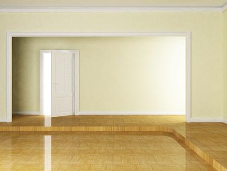 wood room: open door in the empty room, 3d rendering Stock Photo