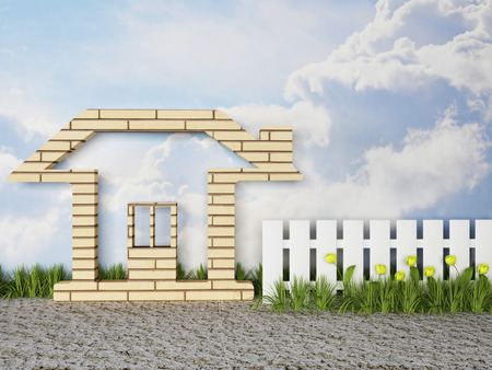 homestead: funny house in the village, 3d rendering