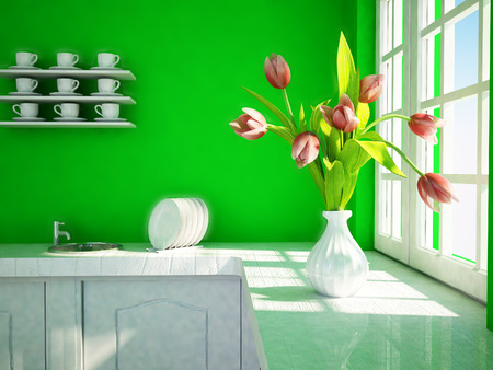sulight: a part of kitchen interior, 3d rendering Stock Photo