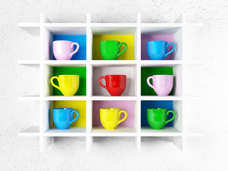 espresso cup: many colored cups on the shelf, 3d rendering Stock Photo