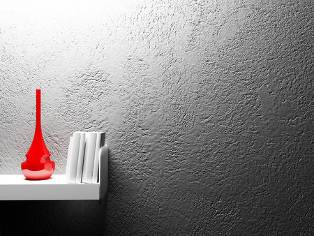 red vase and books, 3d rendering photo