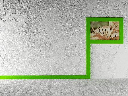 plinth: creative picture on the wall. 3d rendering
