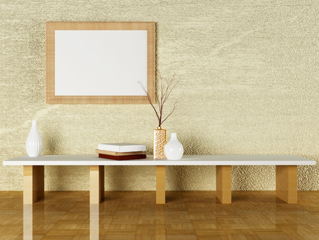 picture frame on wall: the vases and the books on the table, 3d rendering Stock Photo