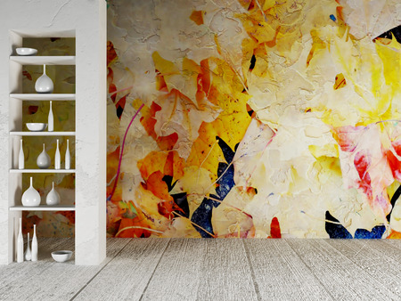 fall decoration: niche in the wall and nica wallpaper