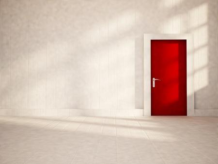 red door: red door in the empty room, 3d rendering