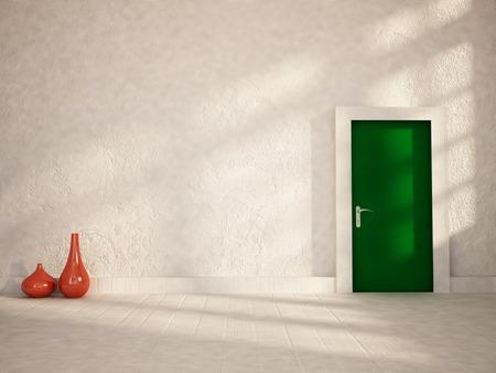 green door: green door in the empty room, 3d rendering