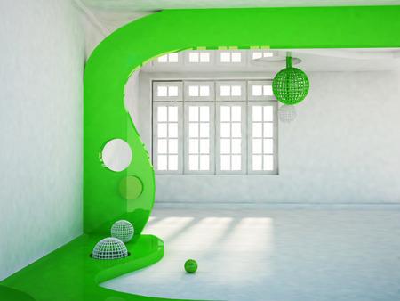 big window: room with a big window, 3d rendering