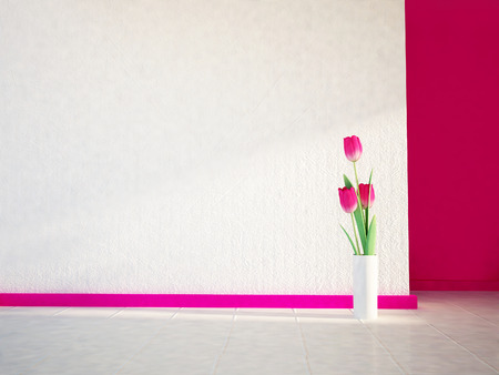 pink tulips on the white floor, 3d rendering photo