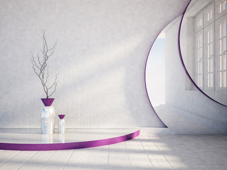 violet residential: vase on the podium, 3d rendering