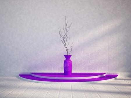 violet residential: vase on the podium, 3d rendering