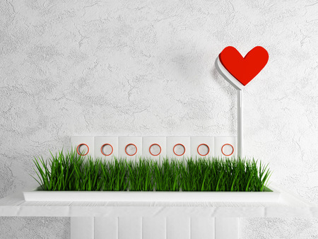 single shelf: vase with the grass and a heart on the shelf Stock Photo