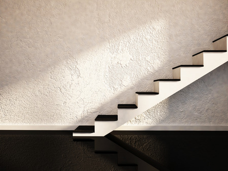 stucco: stairs in an empty room, 3d rendering Stock Photo