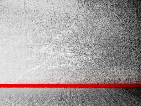 cemento: habitación vacía con un zócalo rojo, representación 3D