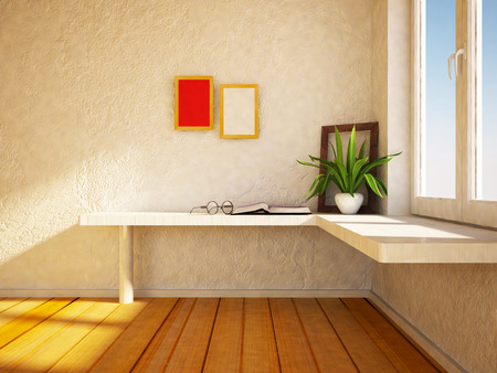 windowsill: plant on the table near the frame, 3d rendering