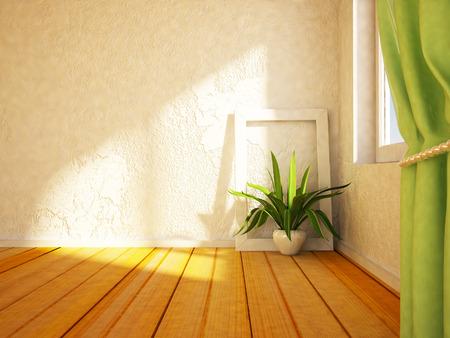 green plant near the window,3d rendering Standard-Bild