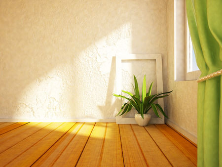 home interior: green plant near the window,3d rendering Stock Photo