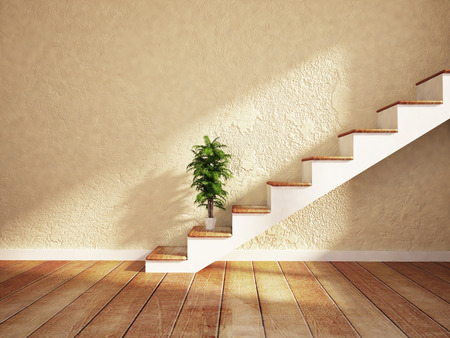 living room design: green plant near on the stairs, rendering Stock Photo