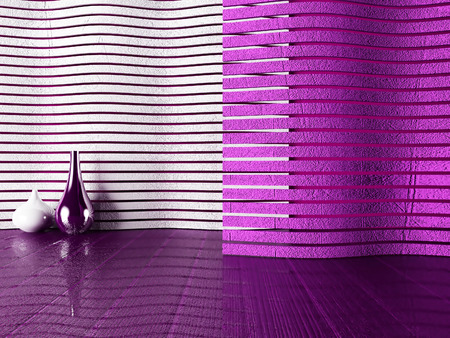 violet residential: two vases on the violet floor, 3d rendering Stock Photo