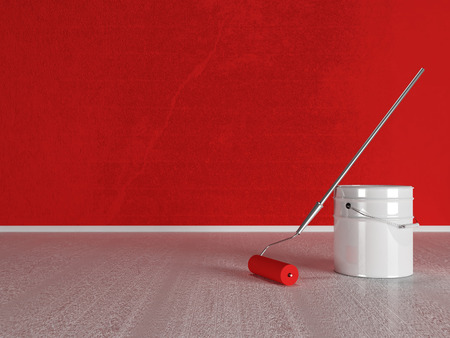 paint roller near the bucket, 3d rendering