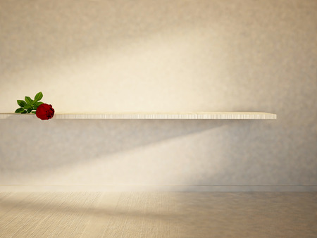 single shelf: red rose on the shelf, 3d rendering