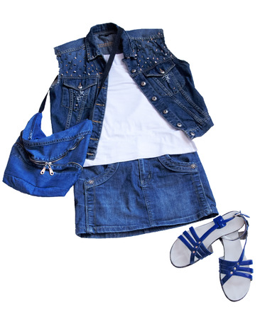 apparel part: fashion image with denim clothing