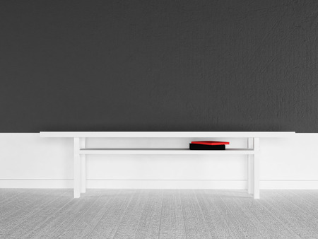 wall decor: empty room with a table, 3d rendering Stock Photo