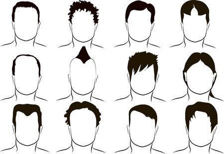 coiffer: Coiffure, vecteur de différents hommes Illustration