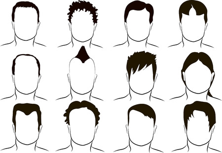 Different men's hairstyle, vector Vettoriali