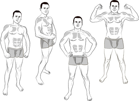 muscular build: stronq man in the various poses