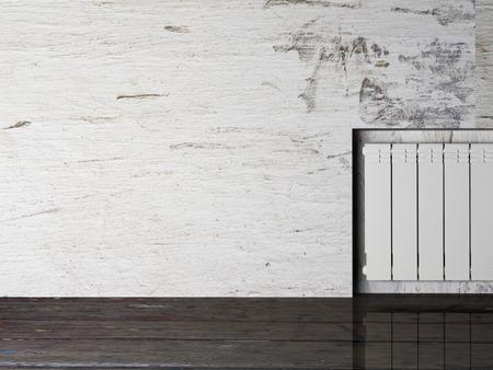 radiador: radiador en una habitación vacía, la representación 3d