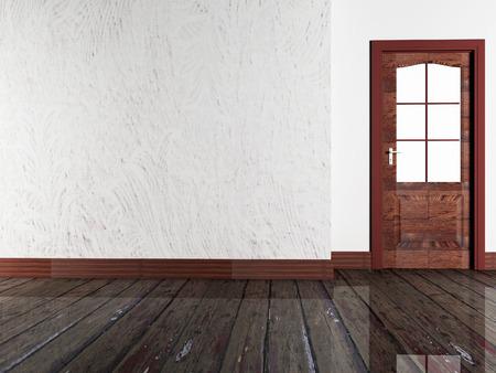 interior render: wooden door in the room, 3d rendering Stock Photo