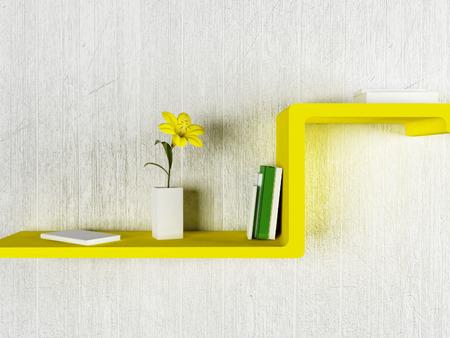 amarillo y negro: buen estante con los libros y el jarrón, la representación 3d