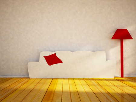 styled: funny flat sofa and a lamp in the interior