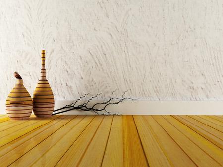 hardwood floor: two wooden vases on the floor, 3d rendering Stock Photo